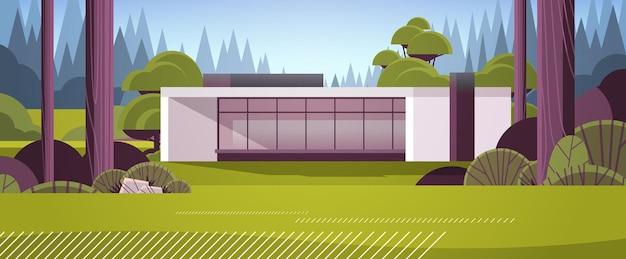 Modernes haus aus sandwichpaneelen mit großen panoramafenstern zeitgenössisches umweltfreundliches wohnbaukonzept für horizontale vektorillustration