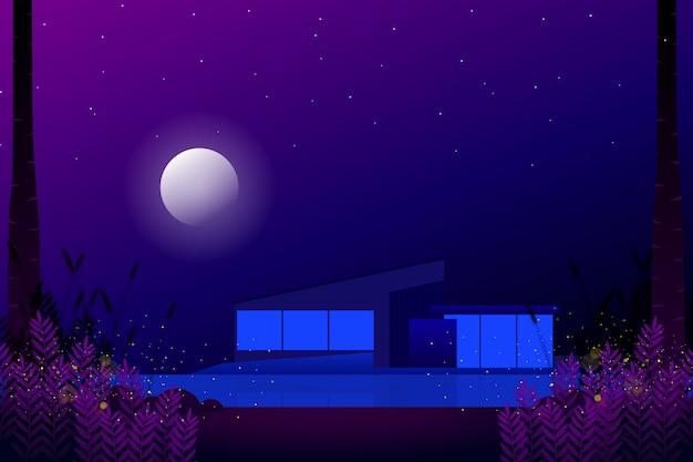 Modernes haus mit sternenklarer nacht- und vollmondlandschaftsillustration