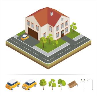 Modernes haus. modernes zuhause. isometrisches konzept. grundeigentum. hütte. isometrisches haus. computersymbol. moderner skandinavischer stil