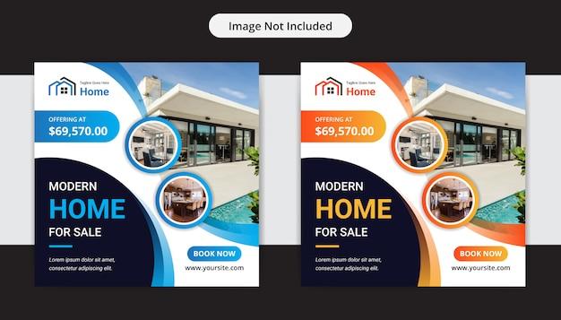 Modernes haus zum verkauf immobilien social media insta post design vorlage