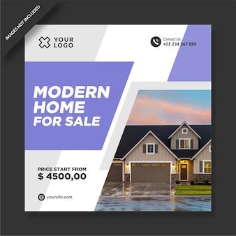 Modernes haus zum verkauf instagram promotion design Premium Vektoren