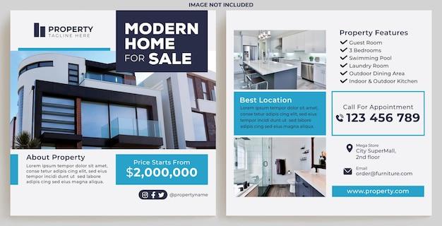Modernes haus zum verkauf promotion feed instagram im flat design style