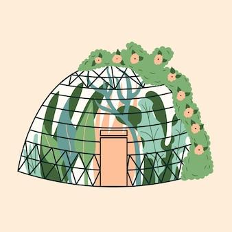 Modernes hausgewächshaus aus kuppelpflanzen garten klettert den efeu hoch winterglasgarten