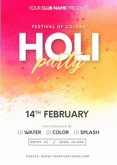 Modernes holi festival von farben mit spritzenhintergrund
