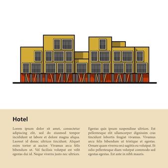 Modernes hotel. vorlage für ihren text am unteren rand