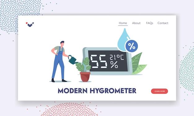 Modernes hygrometer für die landingpage-vorlage zur messung der luftfeuchtigkeit. winzige männliche charakter-bewässerungspflanzen in der nähe eines riesigen thermohygrometers zeigen atmosphären- und mikroklimadaten. cartoon-vektor-illustration