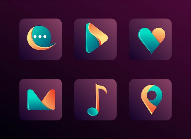 Modernes icon app set