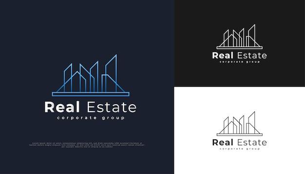 Modernes immobilien-logo-design mit linienstil in blauem farbverlauf.