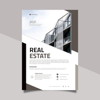 Modernes immobilienplakat mit foto