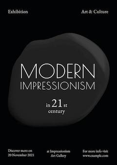 Modernes impressionismus-schablonenvektorschwarzes farbenzusammenfassungs-anzeigenplakat