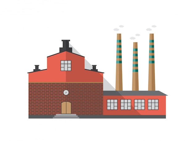 Modernes industrielles backsteingebäude der fabrik mit rohren, die rauch emittieren, isoliert