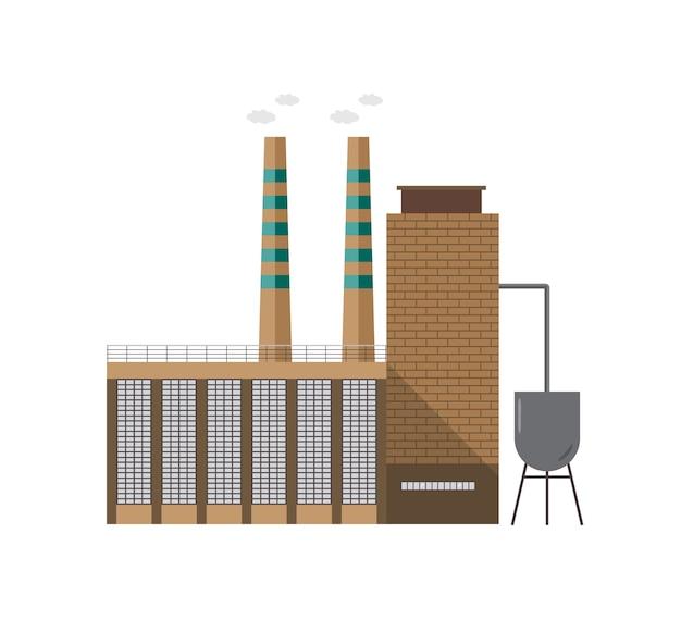 Modernes industrielles fabrikgebäude mit rohr, das dampf emittiert