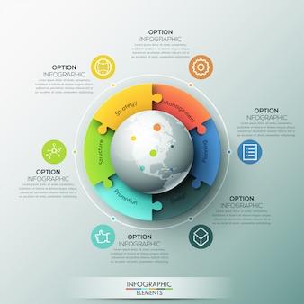 Modernes infografik-layout, 6 miteinander verbundene puzzleteile rund um den globus