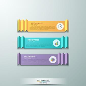 Modernes infografik-optionsbanner mit 3 bändern