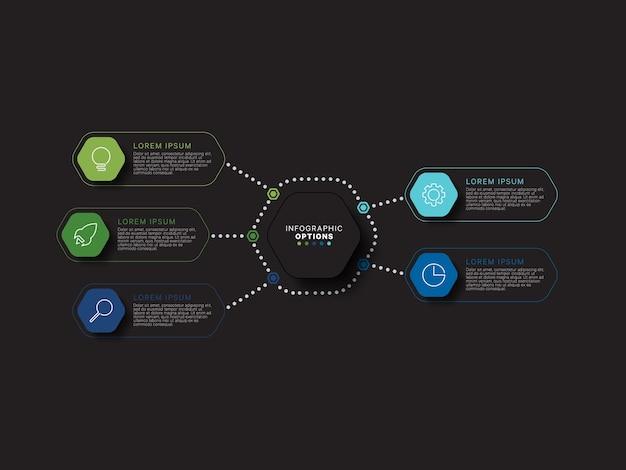 Modernes infografik-schablonenkonzept mit fünf sechseckigen relistischen elementen in flachen farben auf einem schwarzen hintergrund. visualisierungsdaten für geschäftsprozessinformationen in acht schritten.