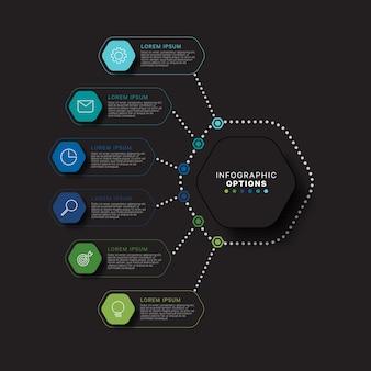 Modernes infografik-schablonenkonzept mit sechs sechseckigen relistischen elementen in flachen farben auf einem schwarzen hintergrund. visualisierungsdaten für geschäftsprozessinformationen in acht schritten.