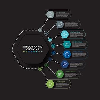 Modernes infografik-schablonenkonzept mit sechseckigen relistischen elementen