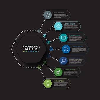 Modernes infografik-schablonenkonzept mit sieben sechseckigen relistischen elementen in flachen farben auf einem schwarzen hintergrund. visualisierungsdaten für geschäftsprozessinformationen in acht schritten.