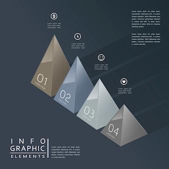 Modernes infografikdesign mit glänzenden 3d-dreieckselementen