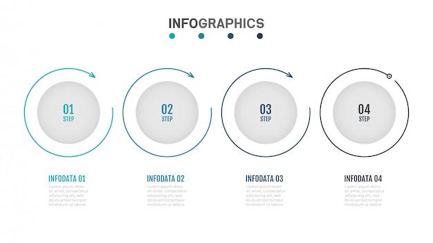 Modernes infografiken-etikettendesign mit flachem kreis der dünnen linien.