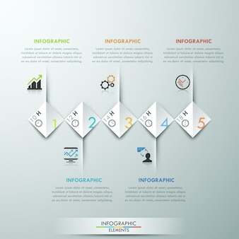 Modernes infografiken-optionsbanner mit 5 papierrechtecken