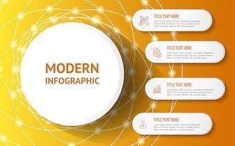 Modernes Infographic mit gelber Hintergrundschablone