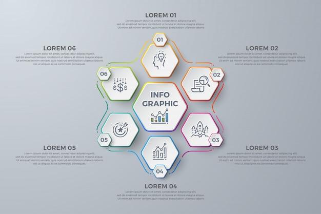 Modernes infographic-schablonendesign mit 6 prozesswahlen oder -schritten