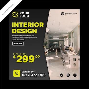 Modernes innendesign-banner für social media post