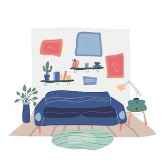 Modernes interieur des wohnzimmers mit modischen möbeln.