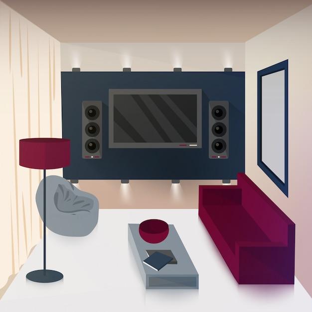 Modernes interieur des wohnzimmers mit tv und hi-fi-technologien