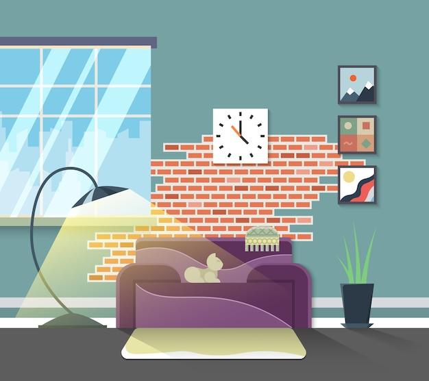 Modernes interieur des wohnzimmers. vektor wohnmöbel im flachen stil. entwerfen sie hauptdekoration, lampe und wohnungsillustration