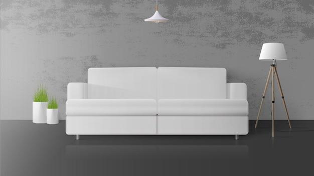 Modernes interieur im loftstil. raum mit betonwänden. weißes sofa, stehlampe mit weißem lampenschirm, topf gras. illustration