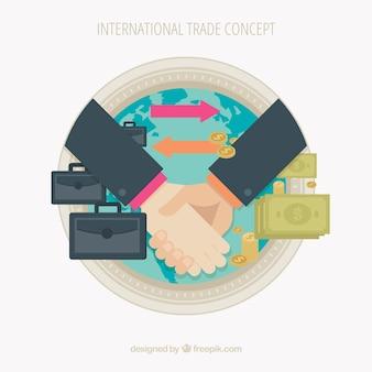 Modernes internationales handelskonzept mit flachem design