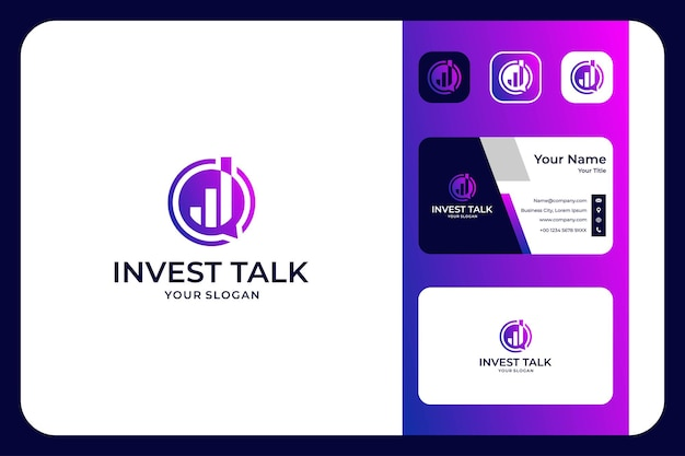 Modernes investment- und chat-talk-logo-design und visitenkarte