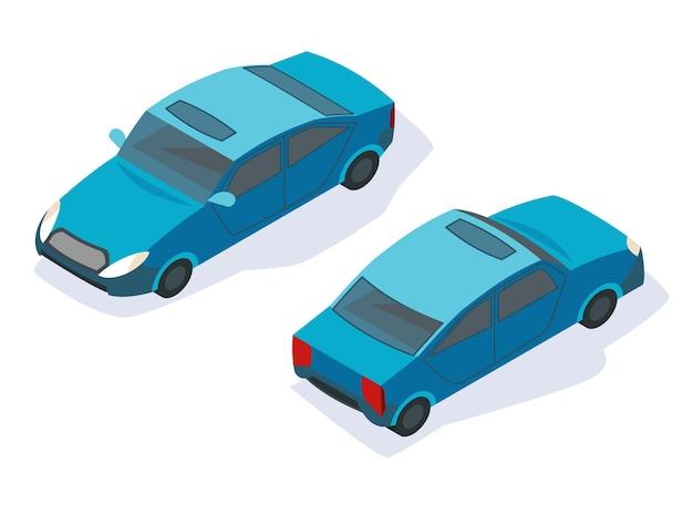 Modernes isometrisches autoikonendesign. städtischer verkehr für passagiere oder dienstleistungen.