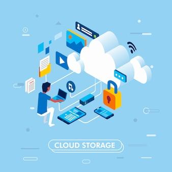 Modernes isometrisches design des wolkenspeicherkonzeptes, wenn der mann an dem laptop arbeitet, der auf wolkenspeicher, landungsseite oder infographic vektorillustration zugreift