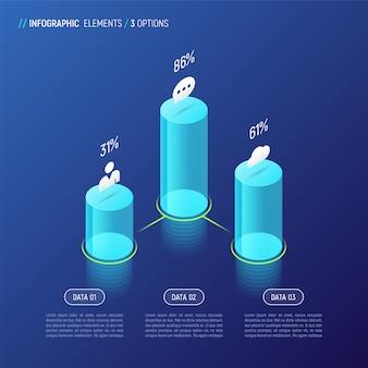 Modernes isometrisches infografikdesign, diagramm, schablone, konzept wi