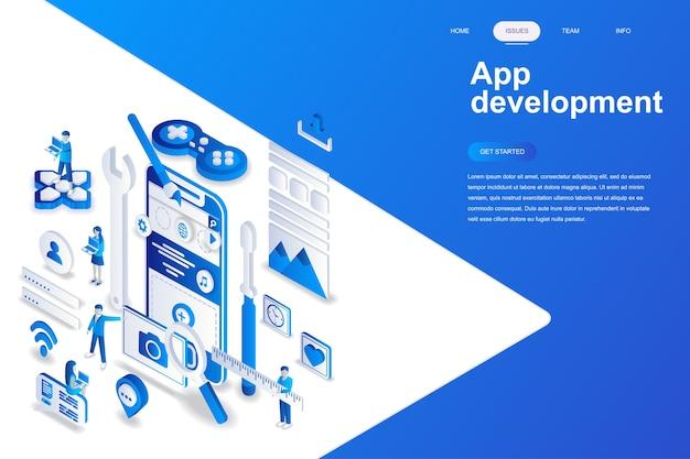 Modernes isometrisches konzept des flachen designs der app-entwicklung.