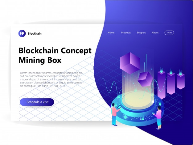 Modernes isometrisches konzept des flachen designs des blockchain