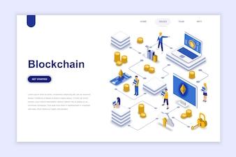 Modernes isometrisches Konzept des flachen Designs des Blockchain.