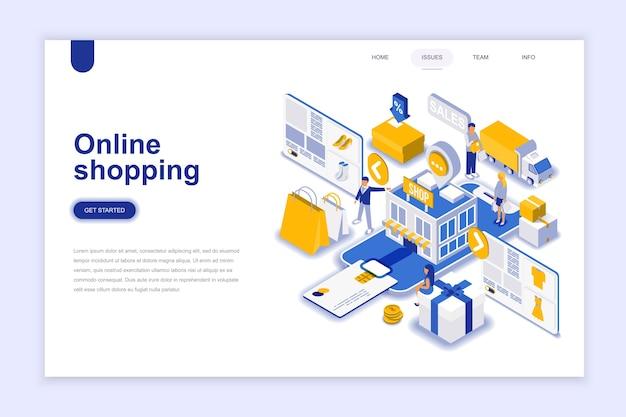 Modernes isometrisches konzept des flachen designs des on-line-einkaufens.