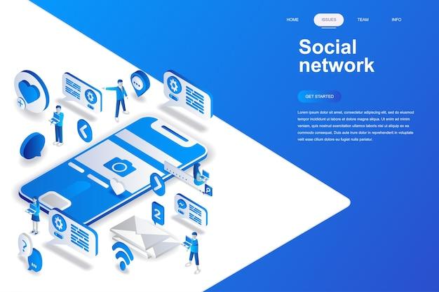Modernes isometrisches konzept des flachen designs des sozialen netzes.
