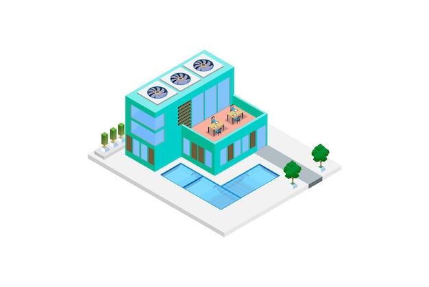 Modernes isometrisches luxushaus mit swimmingpool