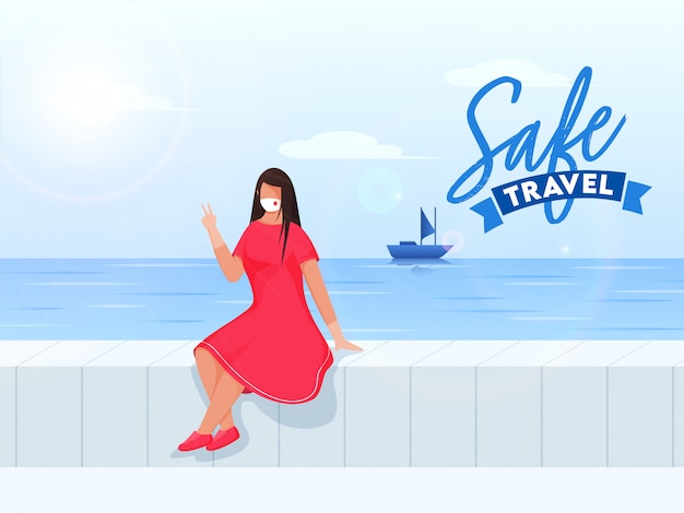 Modernes junges mädchen, das schutzmaske trägt, sitzt am strand oder am meer mit sonnenscheinblick für sicheres reisen.