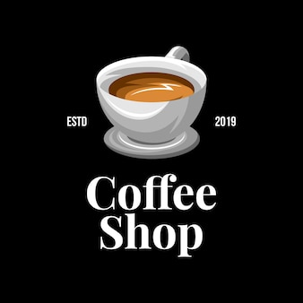 Modernes kaffeestubelogo auf dunklem hintergrund