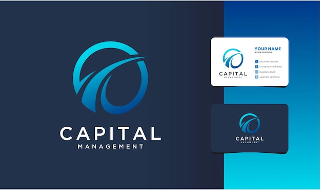 Modernes kapitalmanagementlogo mit visitenkartendesign.