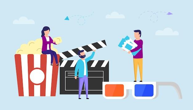 Modernes kino und kinematographie-konzept-vektor-illustration im flachen stil. bunte zusammensetzung mit popcorn gestreiftem glas, 3d-brille und schwarzer klappe. männliche und weibliche charaktere mit gegenständen.