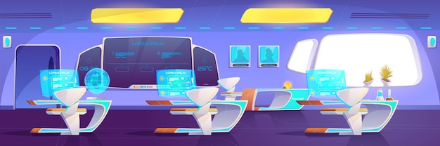 Modernes klassenzimmer mit futuristischem studierendem zubehör