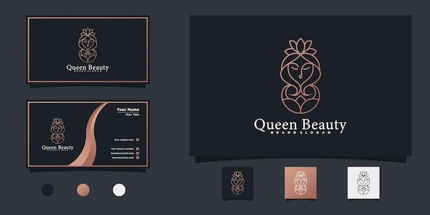 Modernes königin schönheitslogo-design mit einzigartigem verlaufslinien-kunststil und visitenkartendesign premium-vektor