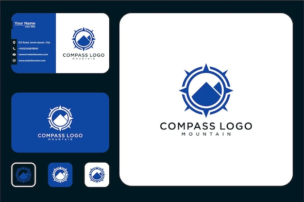 Modernes kompass-berg-logo-design und visitenkarte